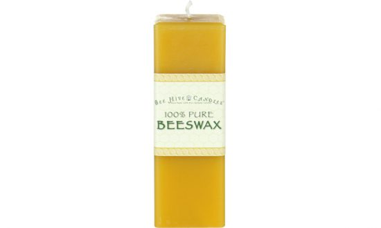 2x6 Square Beeswax Pillar Candle