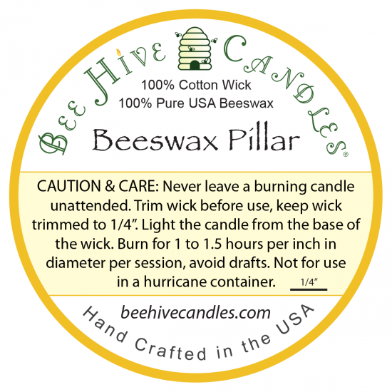 Beeswax Pillar Candle Caution and Care