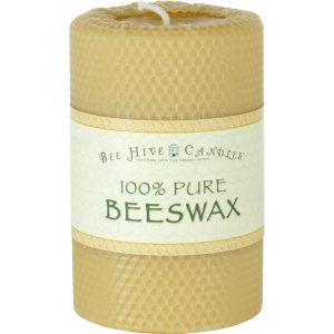 4x6 Honeycomb Wrapped Beeswax Pillar Candle