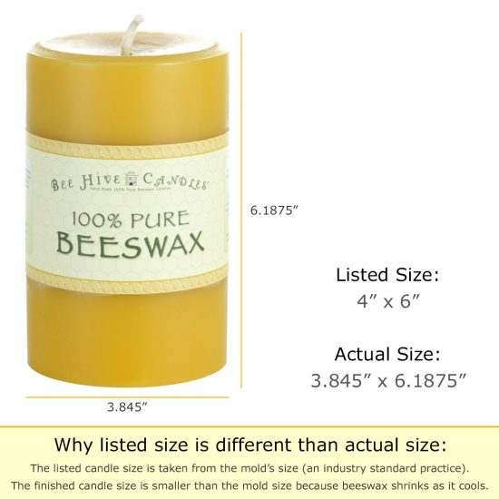 4x6 Beeswax Pillar Candle Dimensions