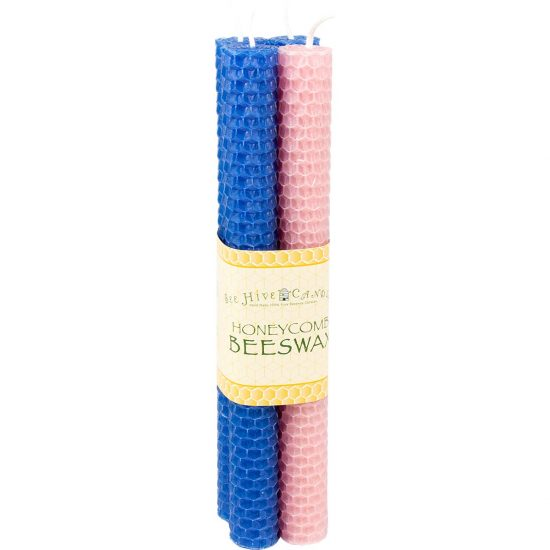 8 inch Honeycomb Advent Beeswax Taper Candles - Blue and Pink