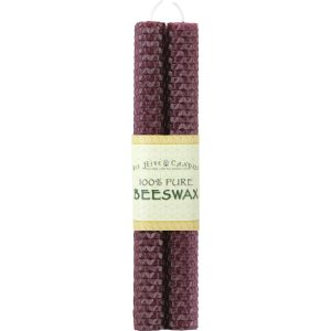 "8"" Burgundy Honeycomb Beeswax Taper Candles"