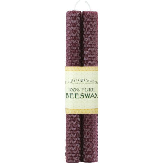 """8"""" Burgundy Honeycomb Beeswax Taper Candles"""