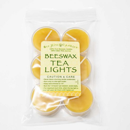Clear Cup Beeswax Tea Lights - 6 Count Bag