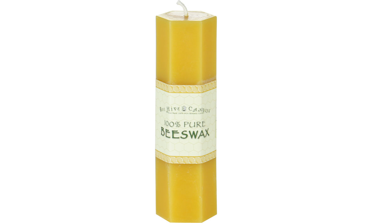 Hexagon Beeswax Pillar Candle
