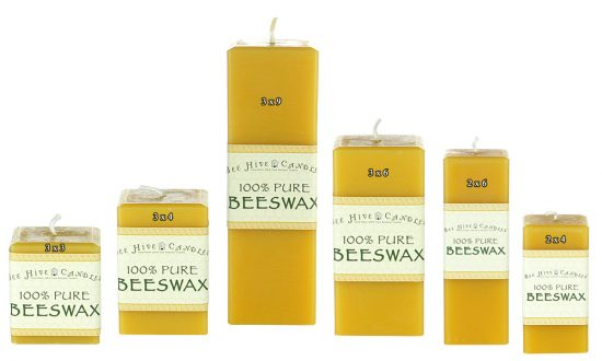 Square Beeswax Pillar Size Chart